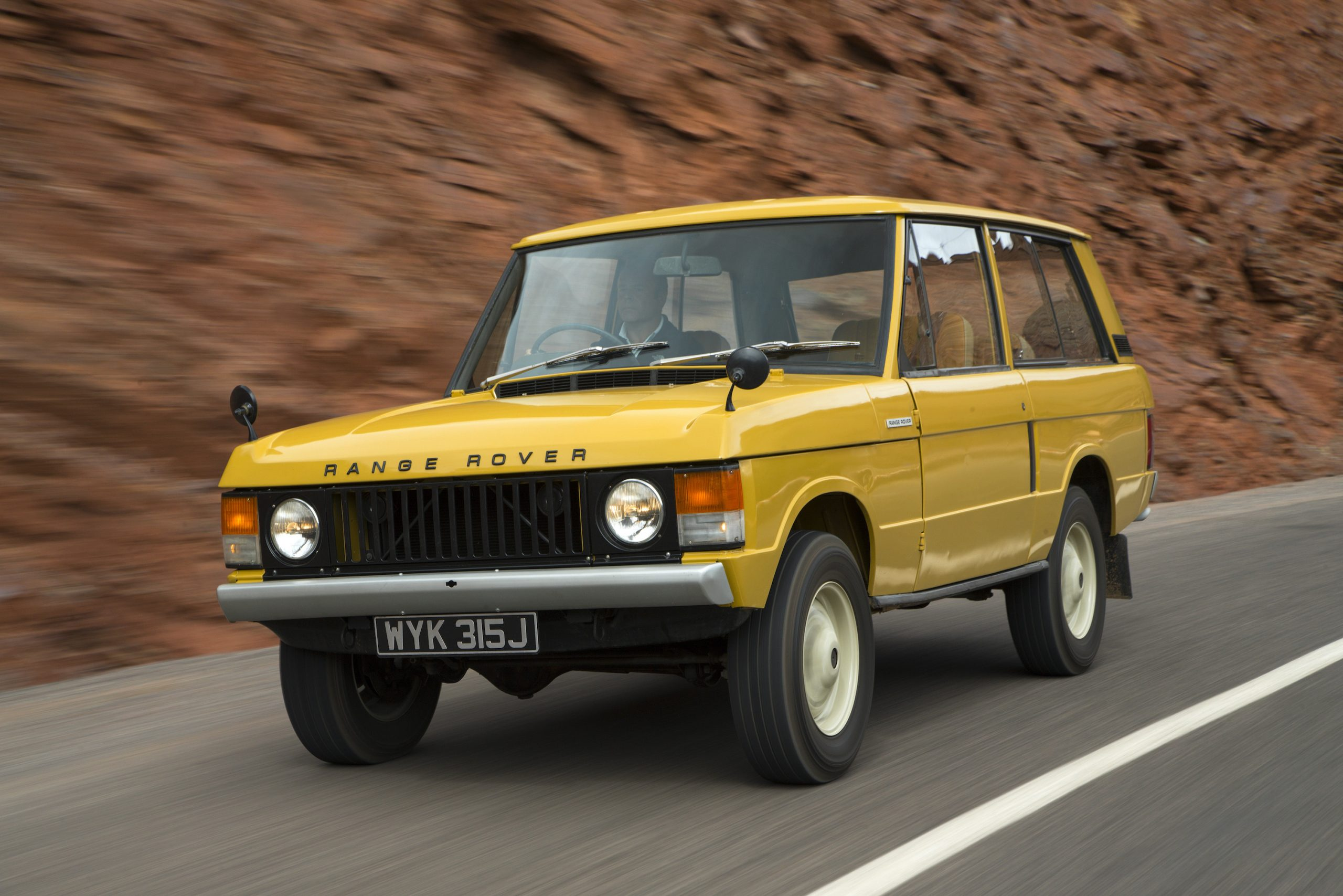 1970 Range Rover Front Three-Quarter Road Action