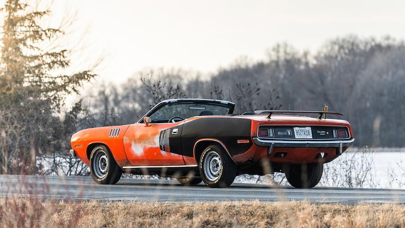 1971 Cuda Convertible Mecum rear three quarter