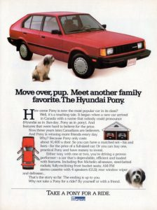 1986 Hyundai Pony print advertisement