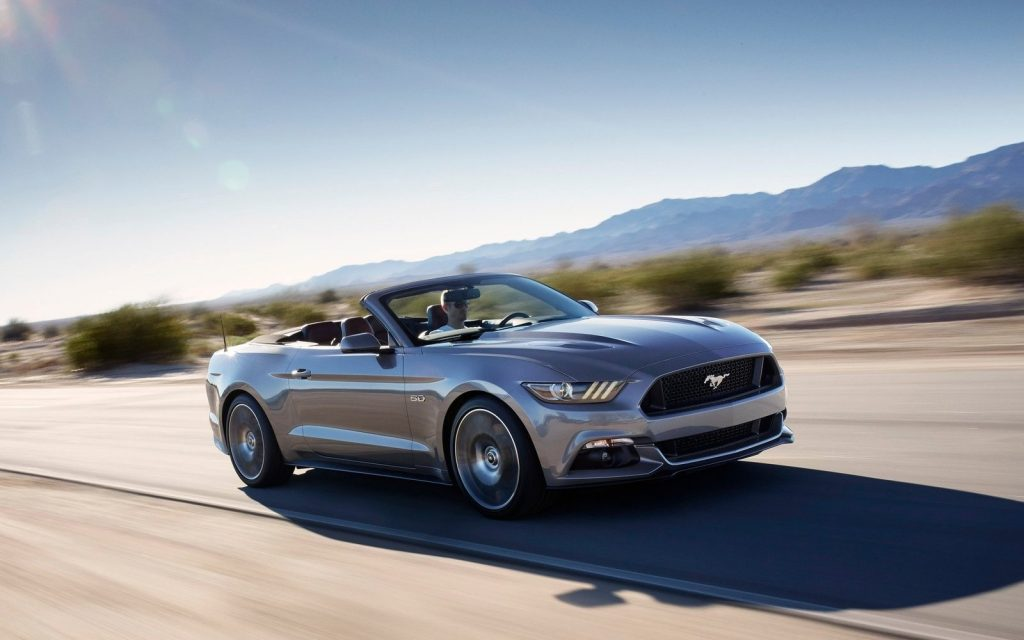 2015 Ford Mustang Convertible at speed
