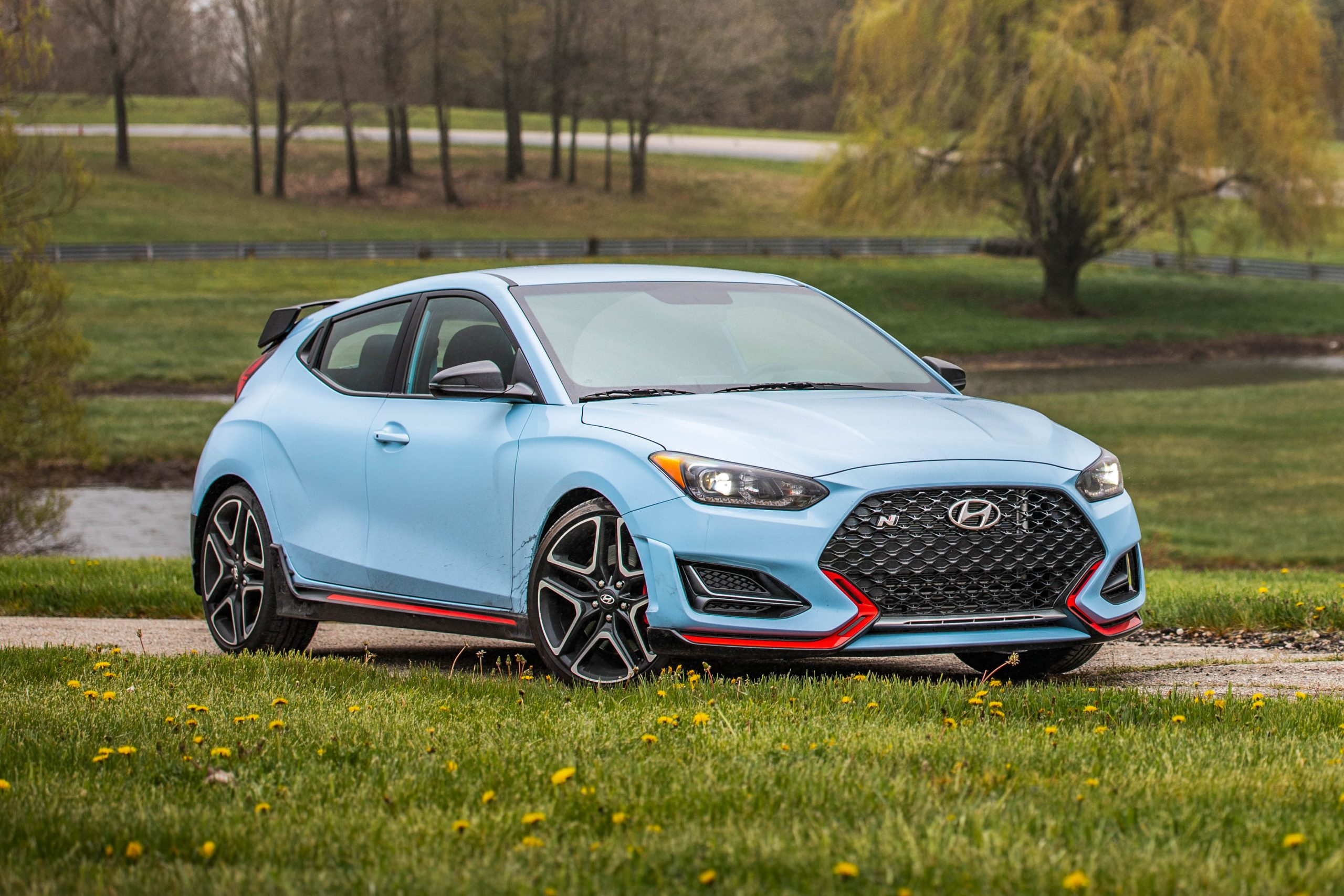 2020 Hyundai Veloster N static front three quarter grass