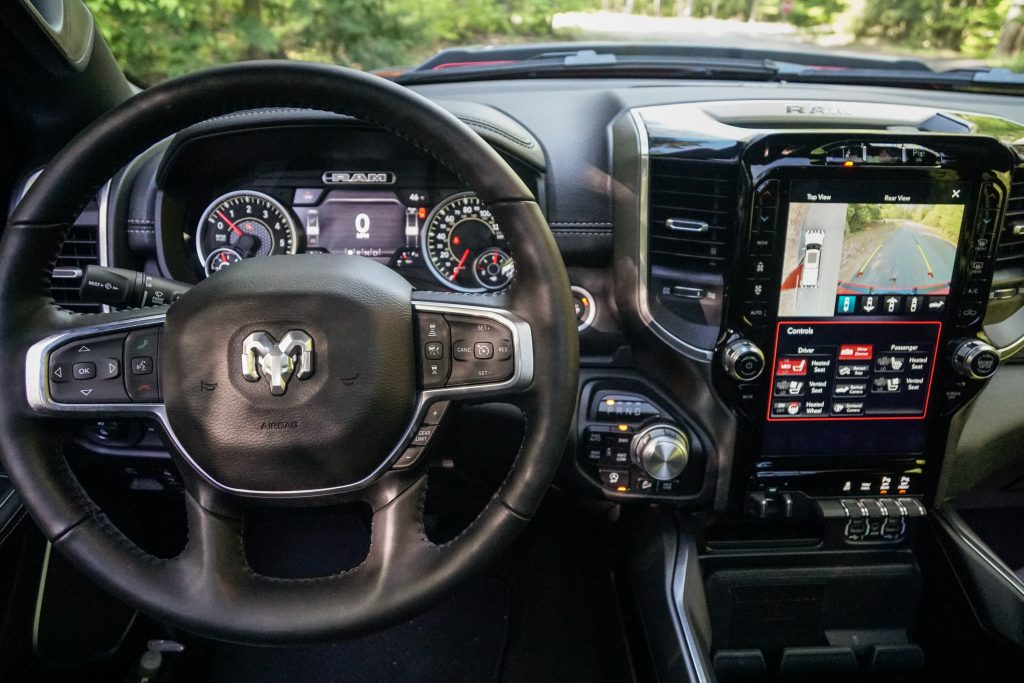2020 Ram 1500 Laramie steering wheel and screen from drivers seat
