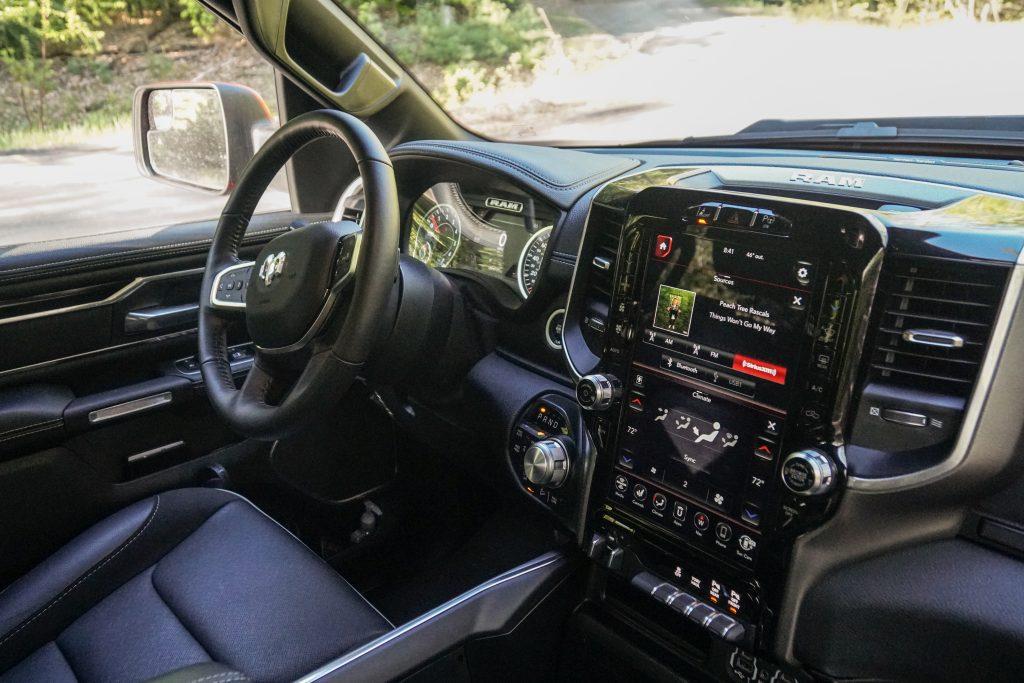 2020 Ram 1500 Laramie interior large screen and steering wheel