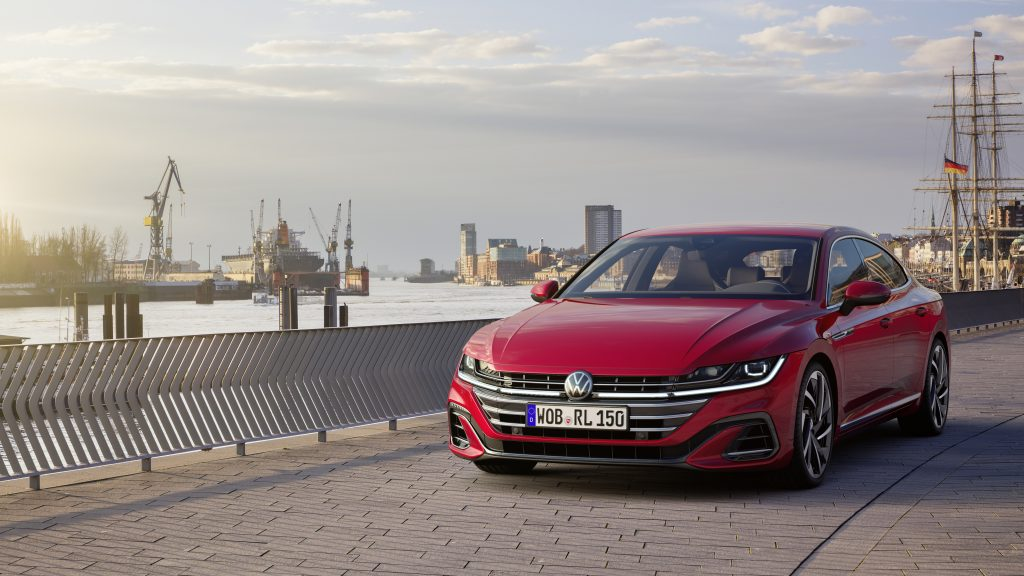 2021 VW Arteon Facelift Hero front three quarter seaside