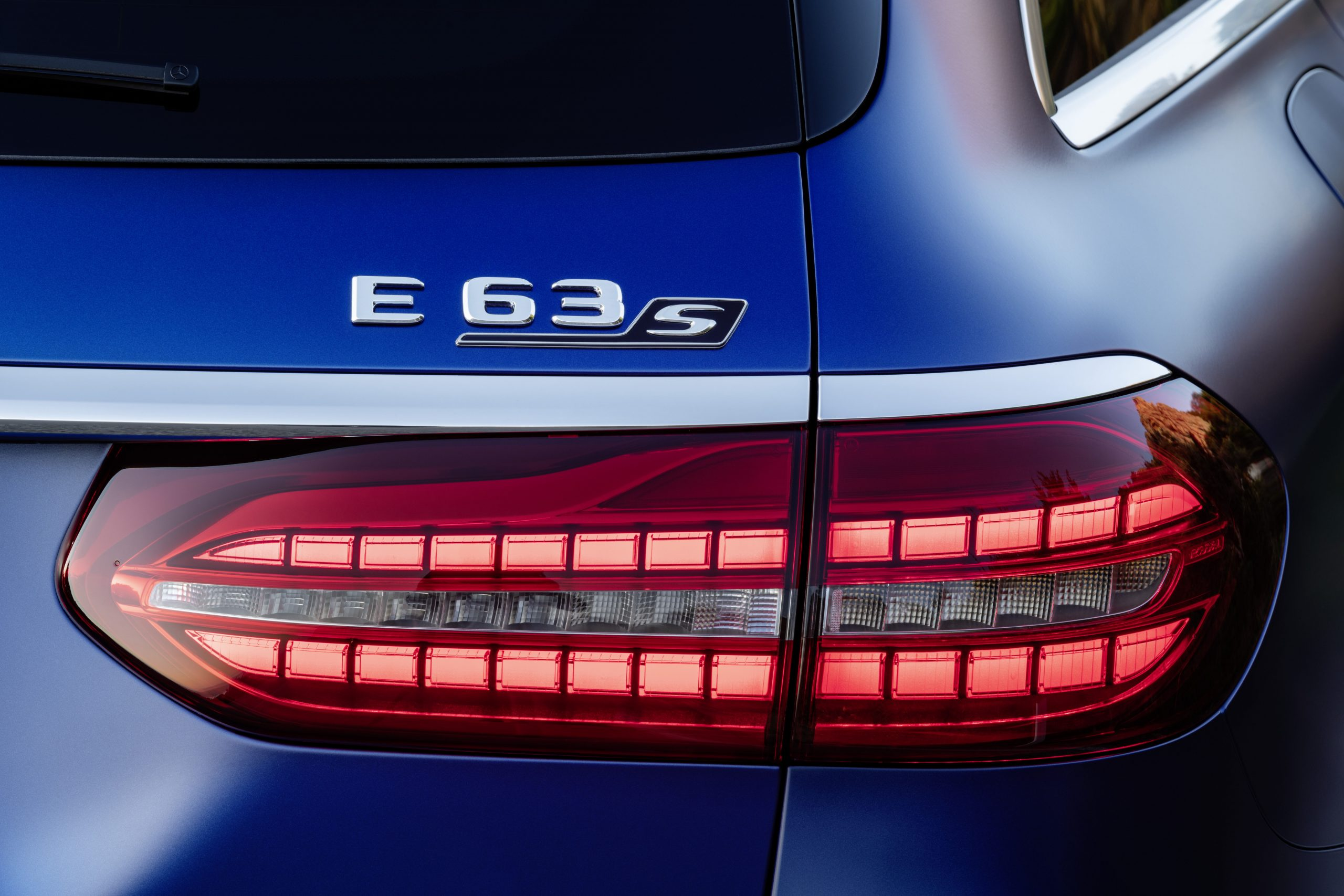 2021 Mercedes-AMG E63 S badge and light
