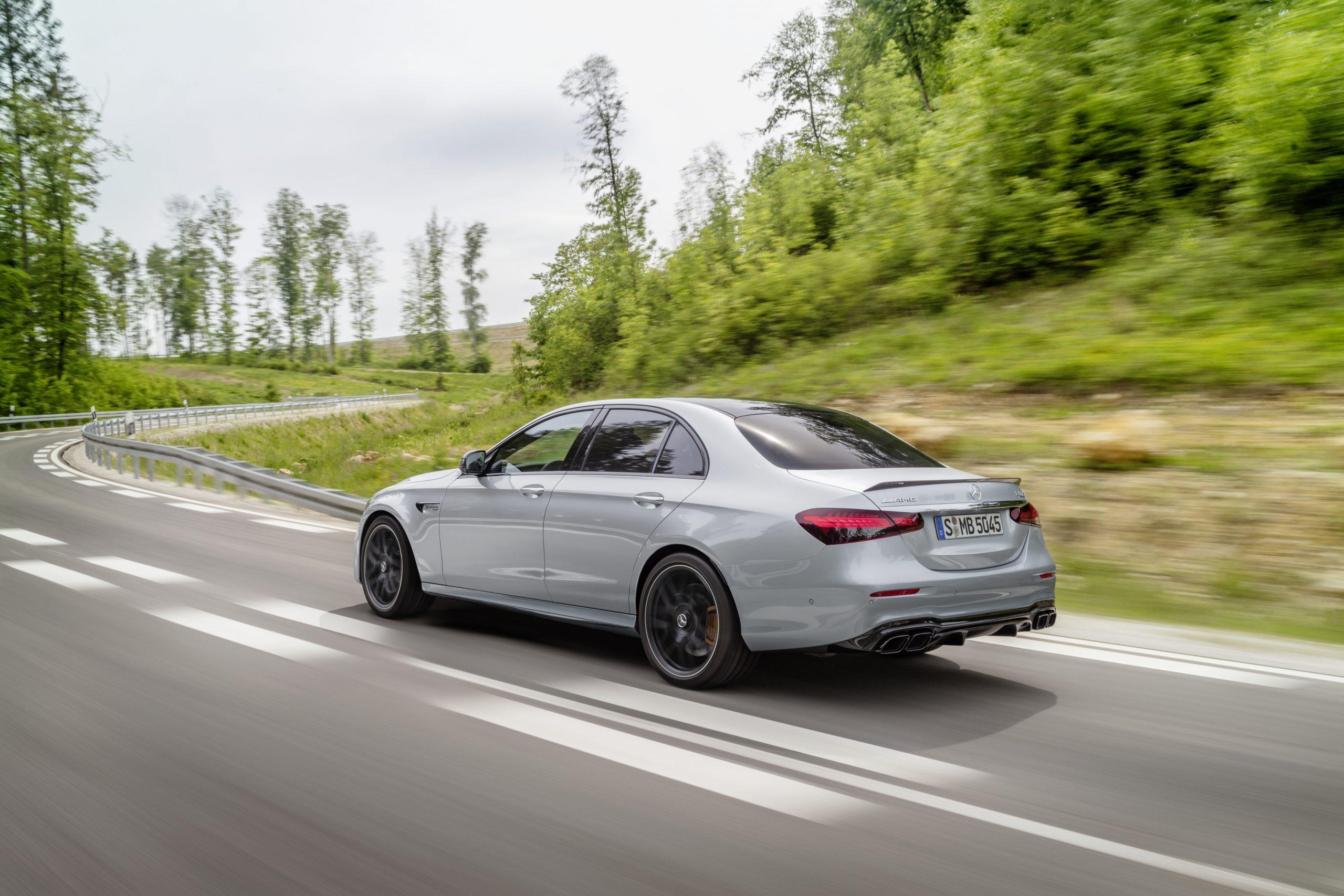2021 Mercedes-AMG E63 S sedan rear three quarter