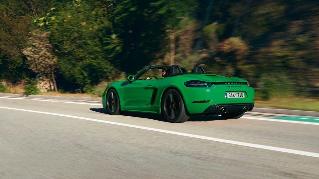 Porsche 718 Boxster GTS 4.0 green on road