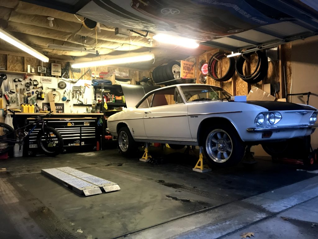 Corvair on jack stands