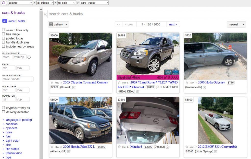 craigslist landing page of car listings