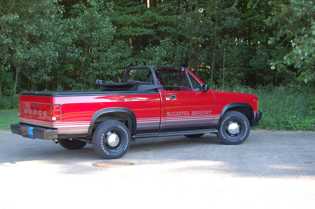 1989 Dodge Dakota Sport Convertible top down rear three quarter passenger side