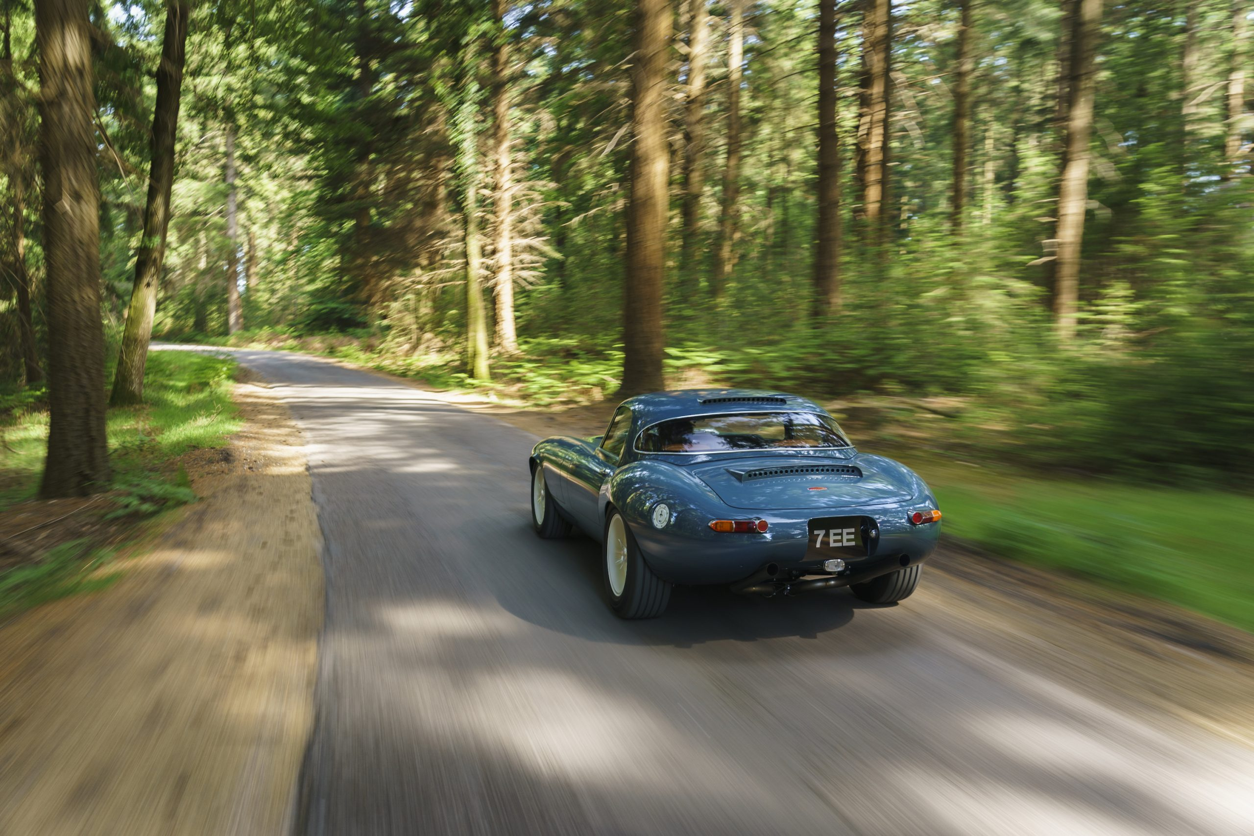 Eagle E-type Lightweight GT Rear Three-Quarter Road Action