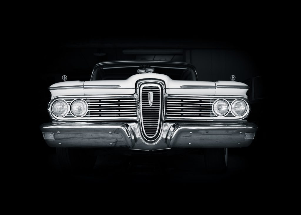 1959 Edsel Front Black And White