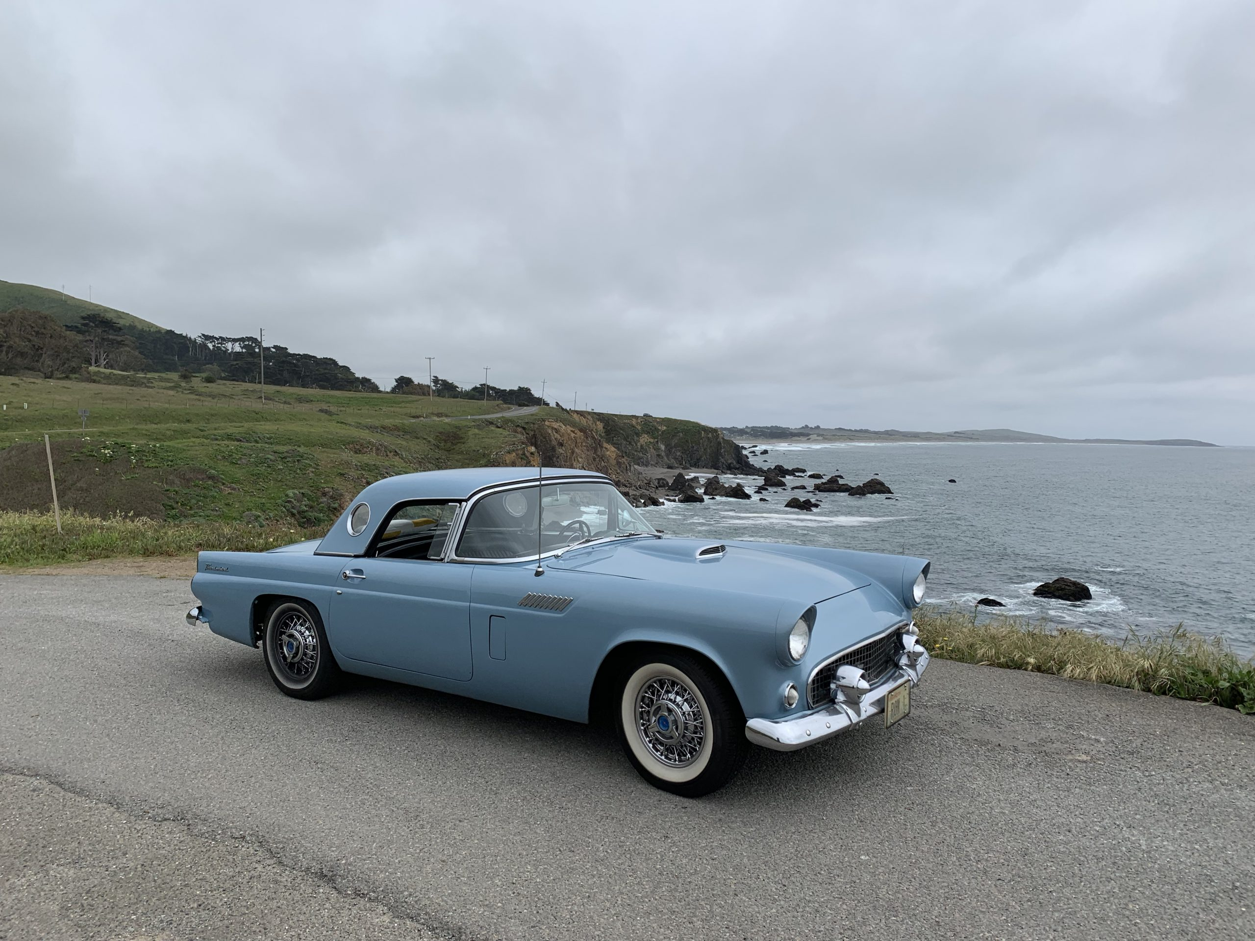 1956 Ford Thunderbird Front Three-Quarter Pacific Ocean Overlook