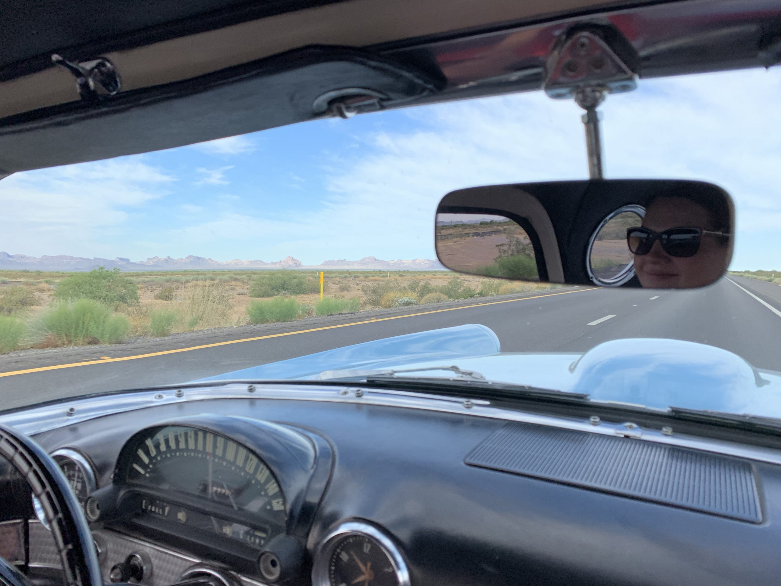1956 Ford Thunderbird Owner In Mirror Driving