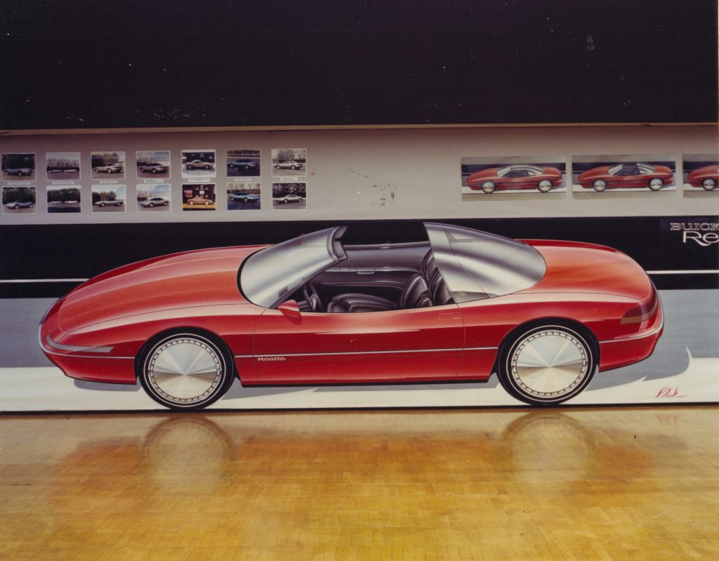 GM Design Board Sketches Of Red Convertible