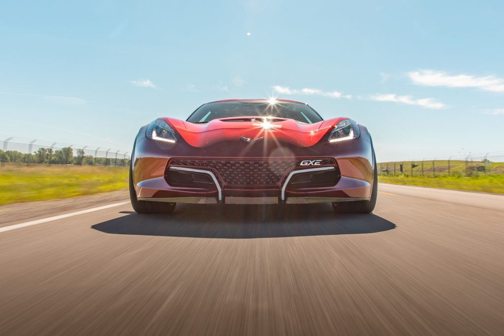 Genovation GXE C7 Corvette Head On Road Action