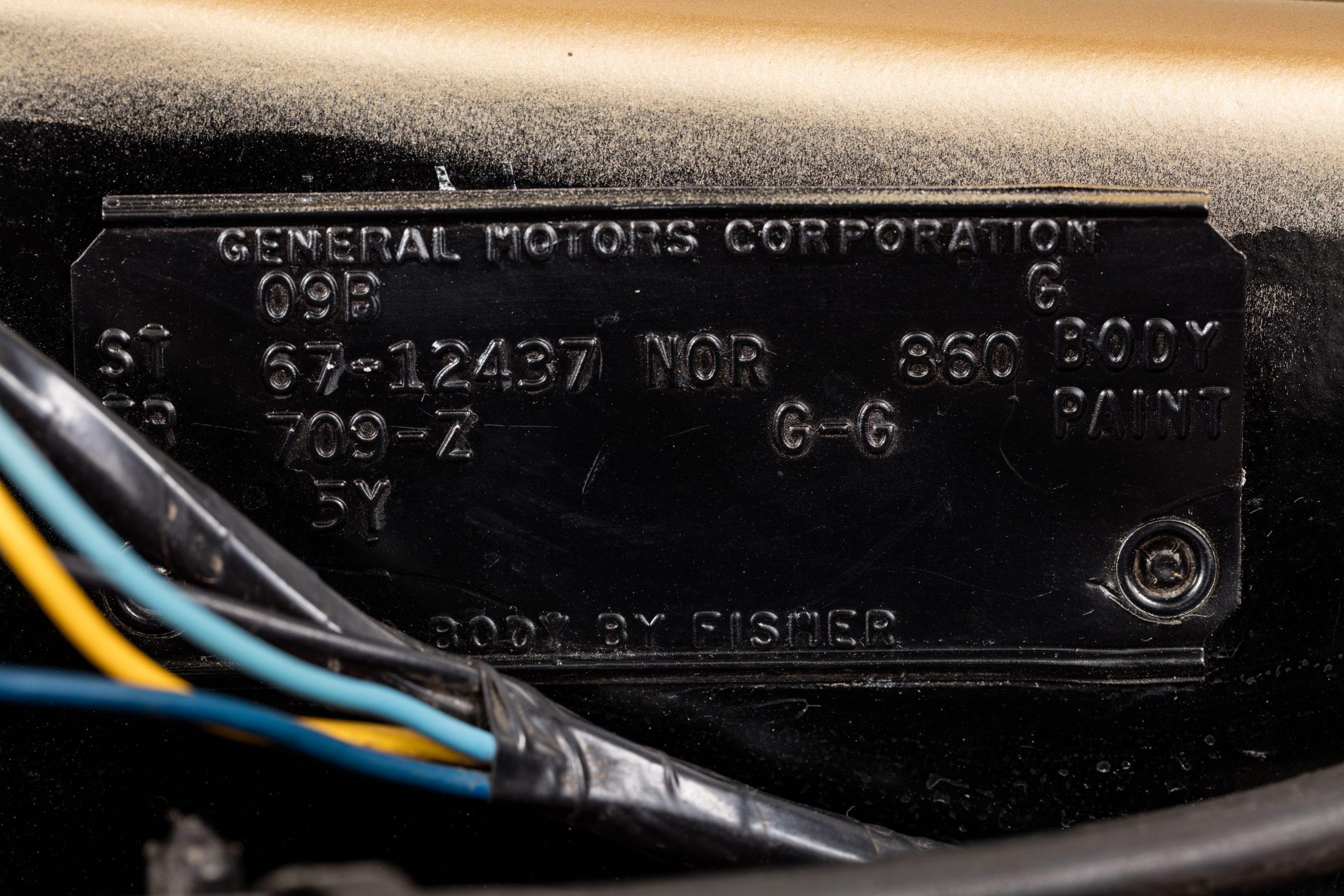HVA - Chevrolet Camaro N100001 - Closeup GM VIN plate