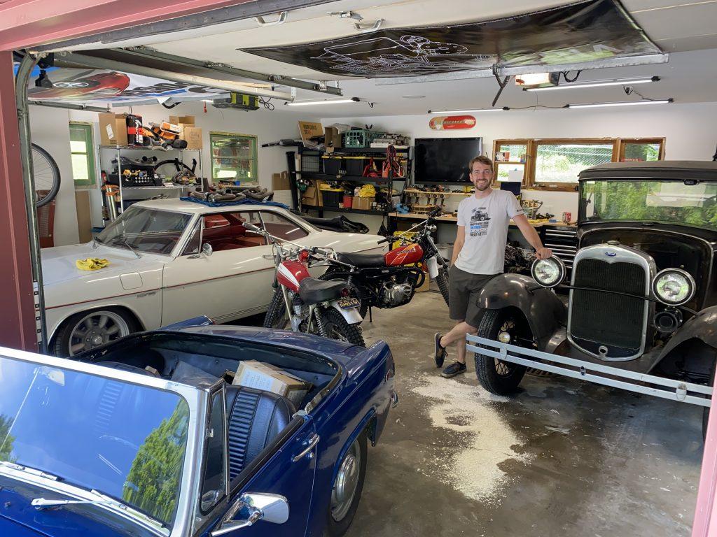 Kyle in his garage