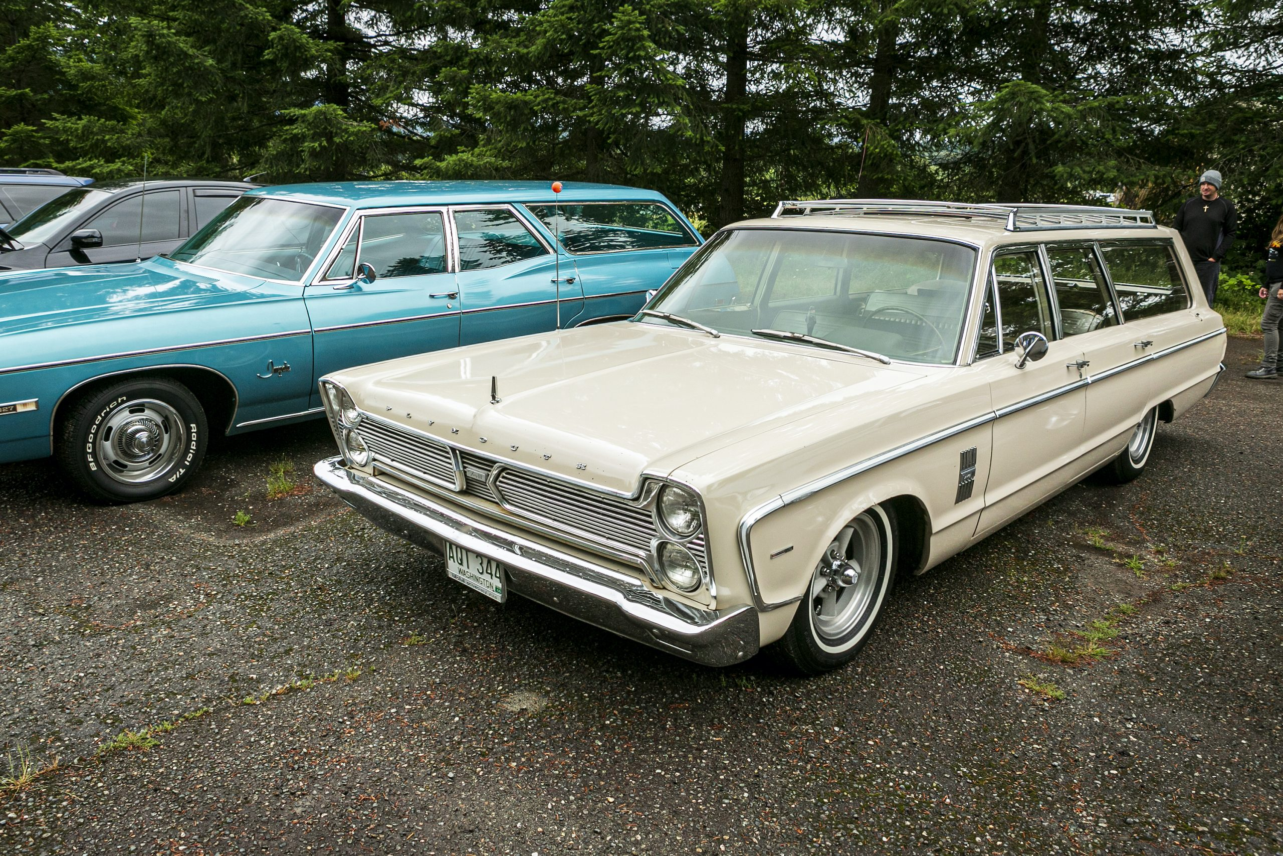 Classic Plymouth Wagon Front Three-Quarter