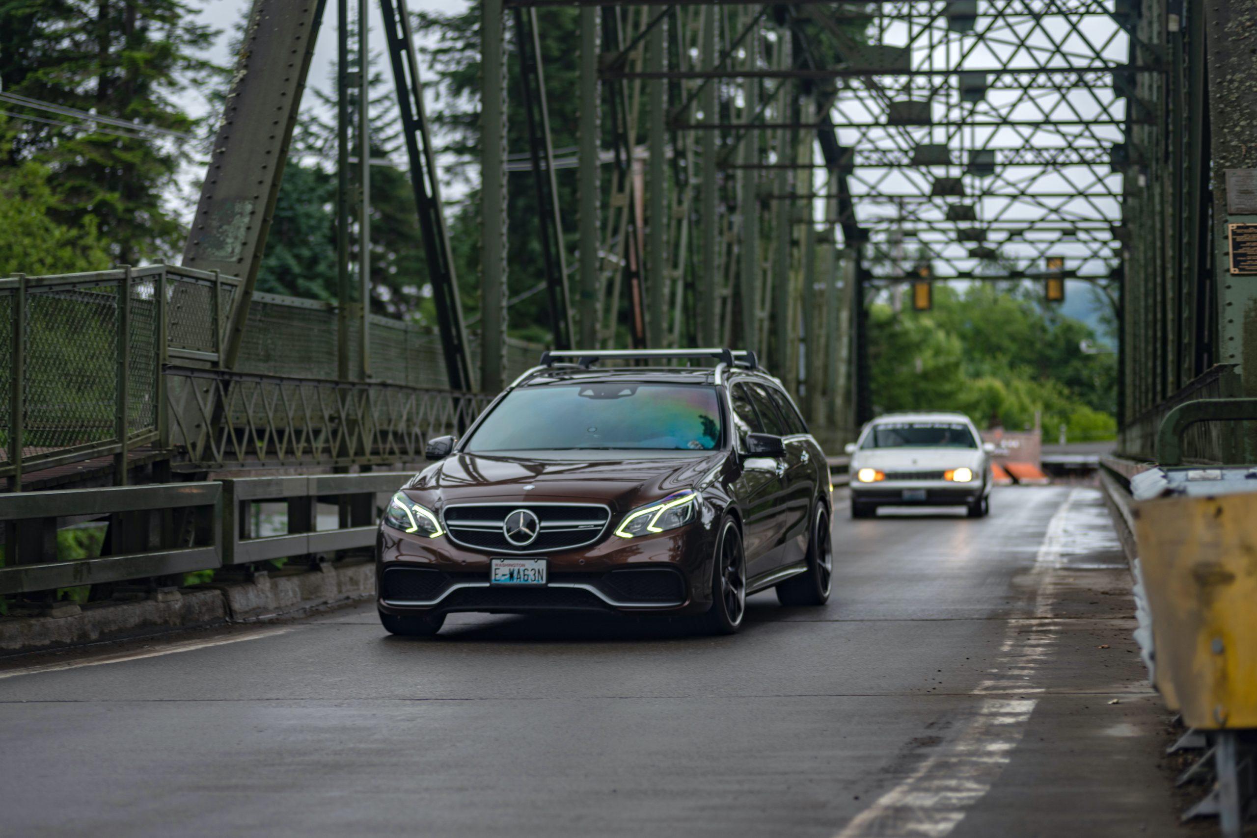 Mercedes Benz Wagon Bridge Crossing Action Front Three-Quarter