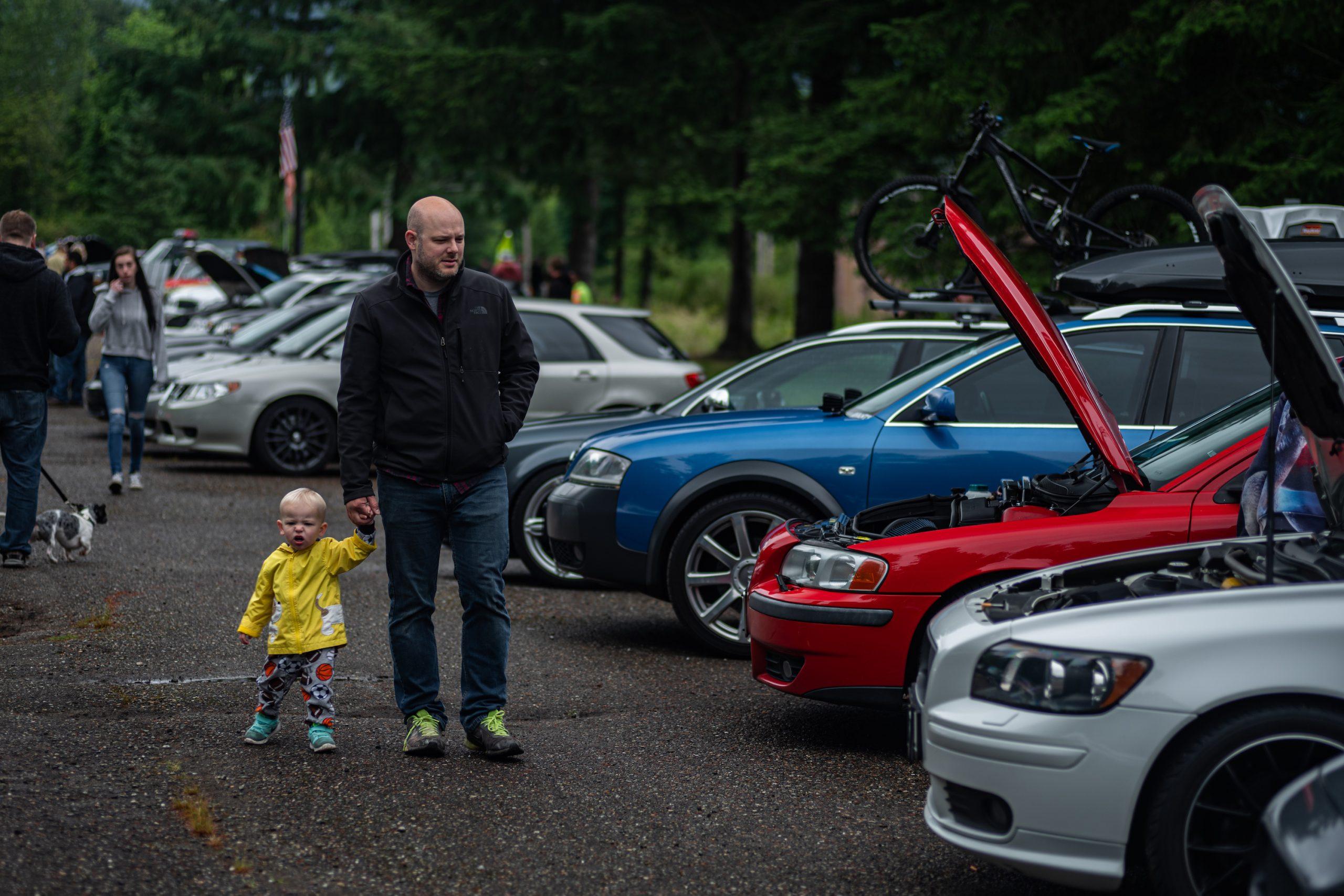 Man and Child Walking By Volvo Wagons