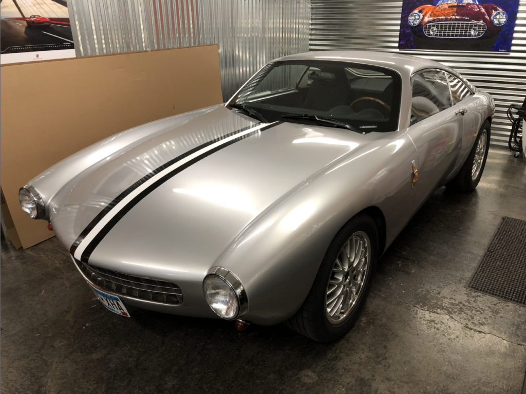 Pontiac Solstice Ferrari Replica front three quarter in garage