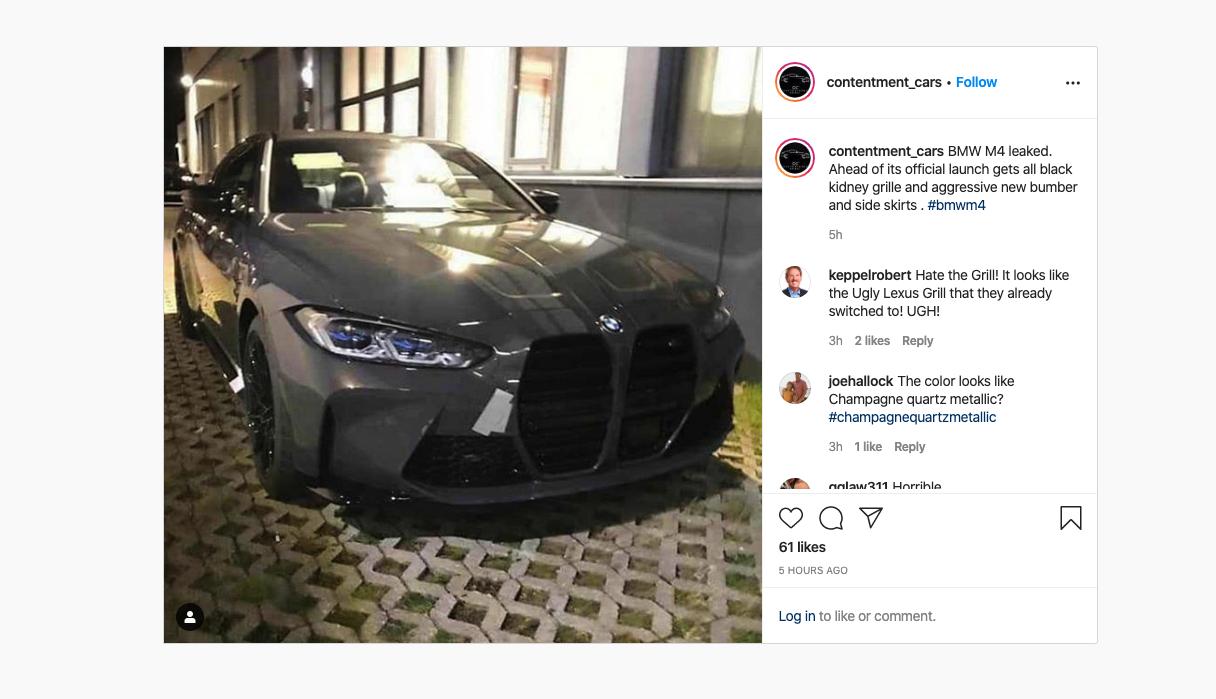 leaked 2021 BMW M4 Instagram