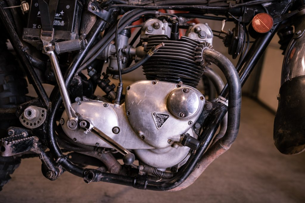 Vintage Triumph Motorcycle Engine Side