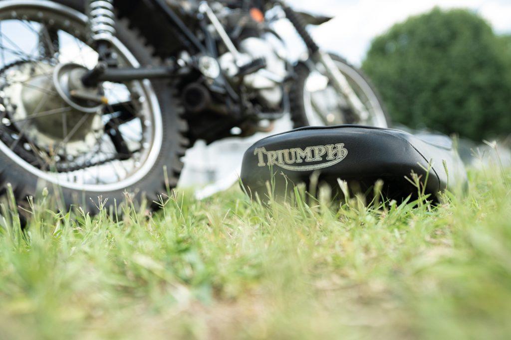Vintage Triumph Motorcycle Seat Logo