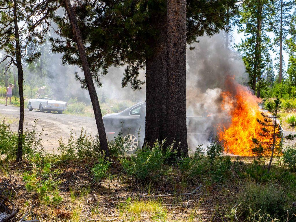 Burning VW Passat