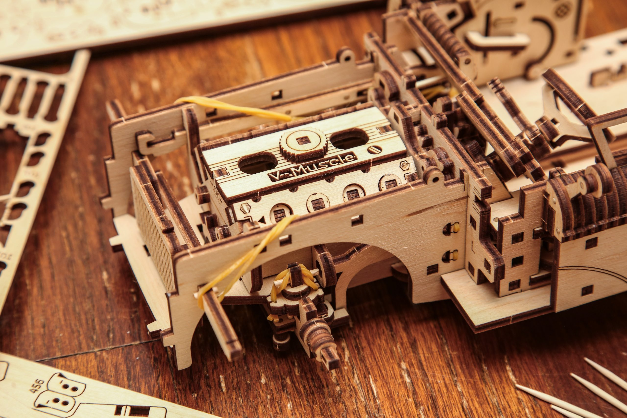 UGears Dream Cabriolet Wooden Model Kit Engine