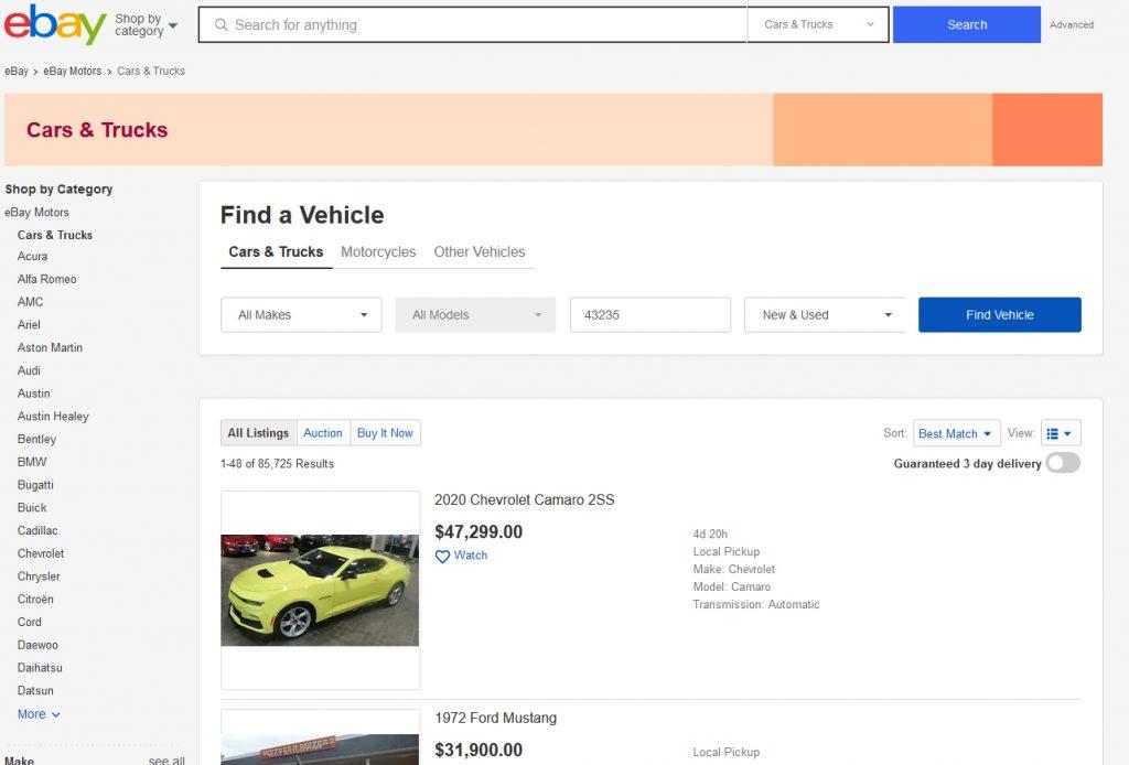 ebay landing page of car listings