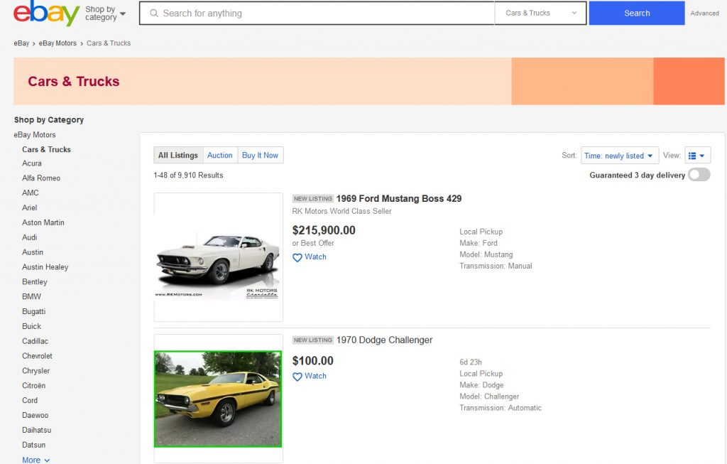 ebay landing page of classic car listings
