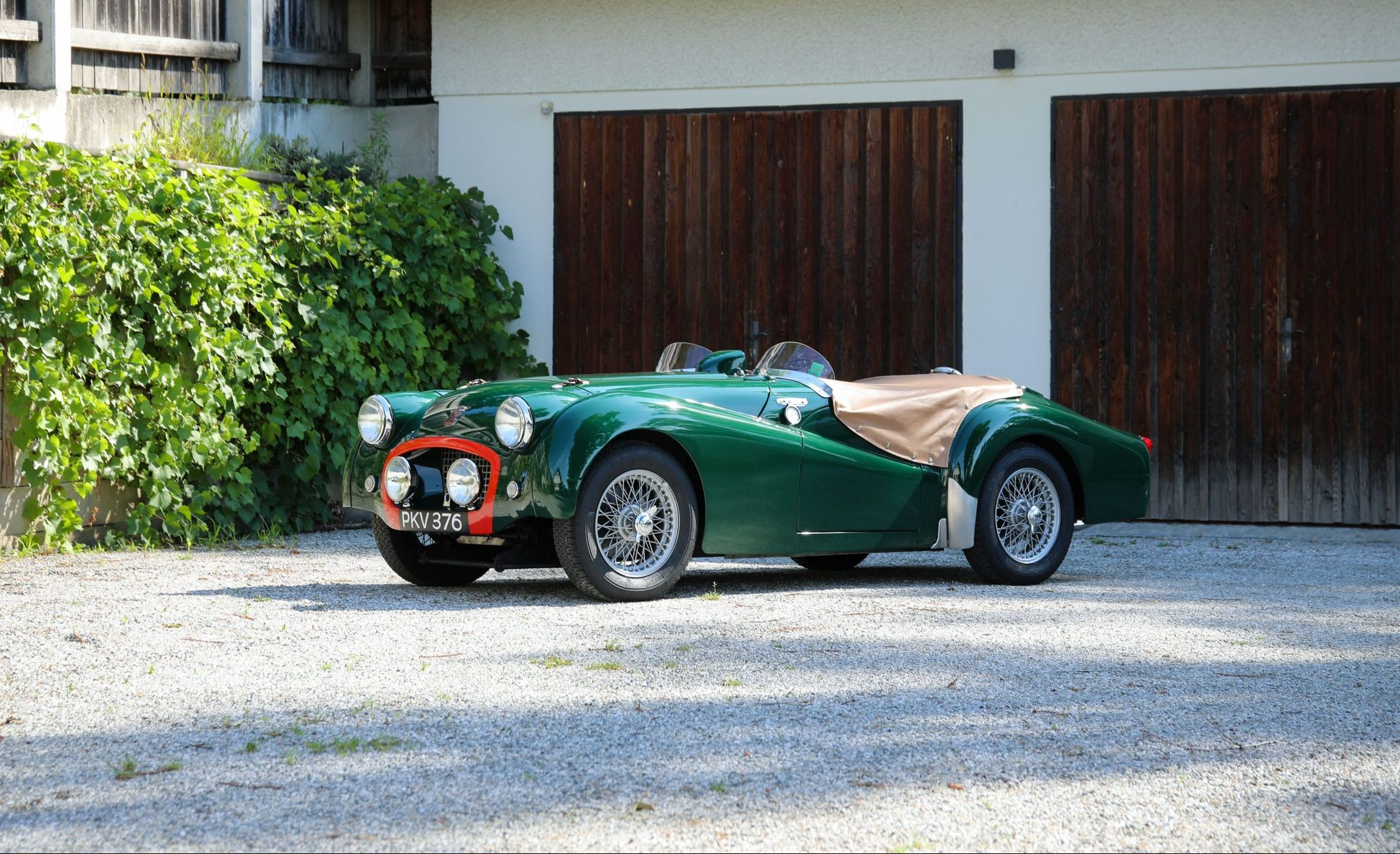 Green Triumph TR2 Race Car front three-quarter
