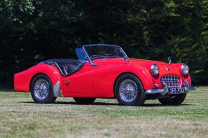 Red Triumph TR3A Front Three-Quarter