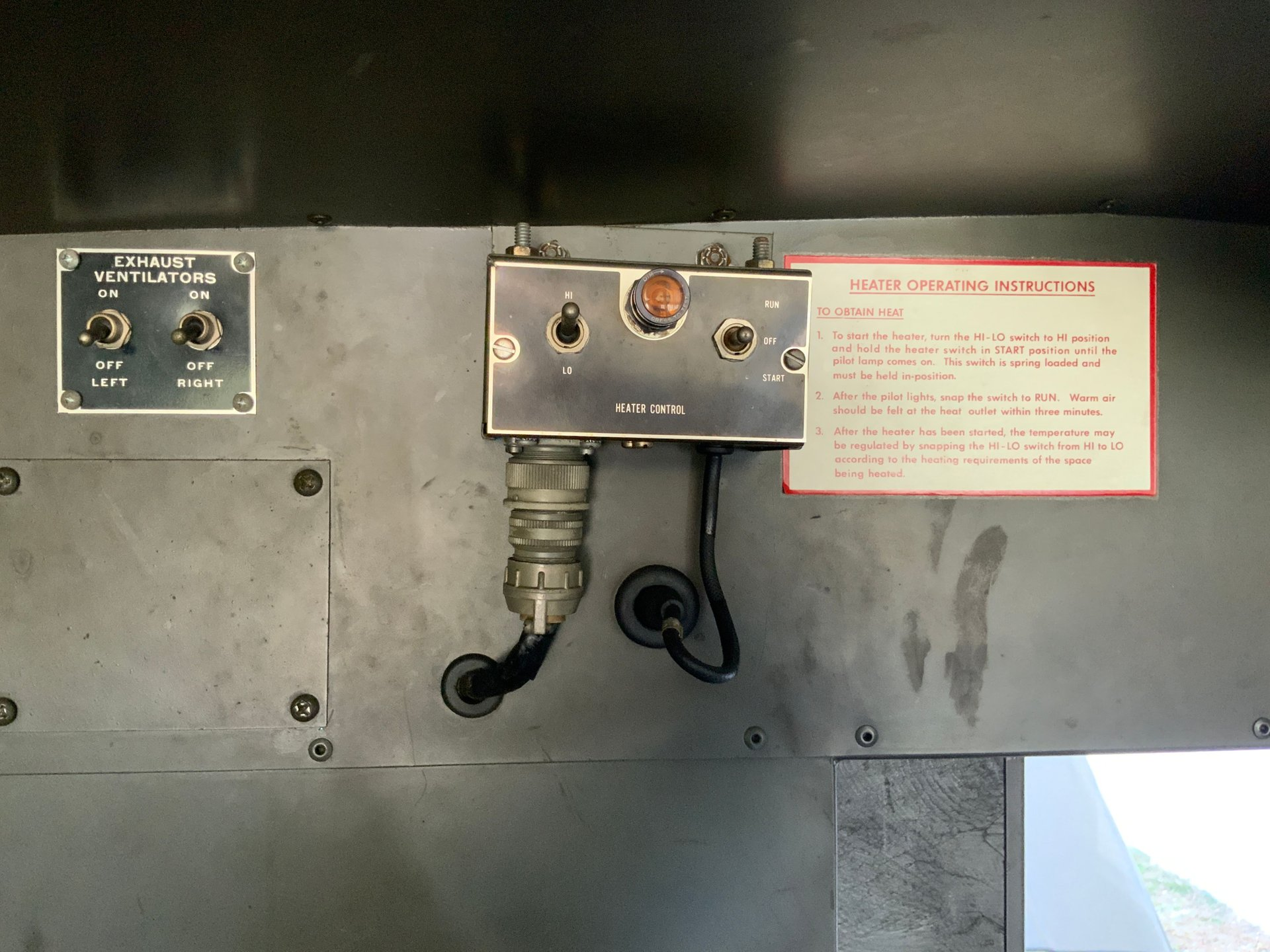 1967 Jeep M725 Ambulance Heater and Ventilator Controls