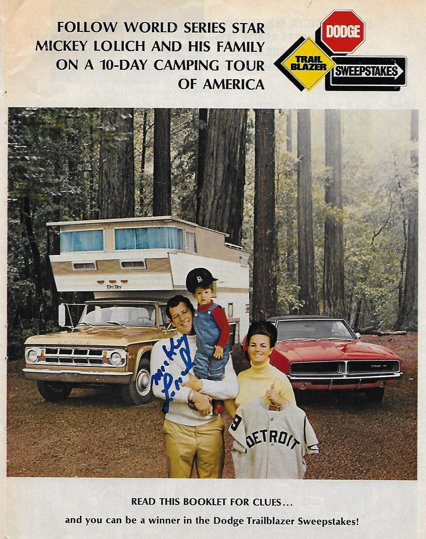 1969 Dodge - Mickey Lolich - Trailblazer Sweepstakes - Page 1