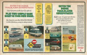 1969 Dodge - Mickey Lolich - Trailblazer Sweepstakes - Rules and prizes