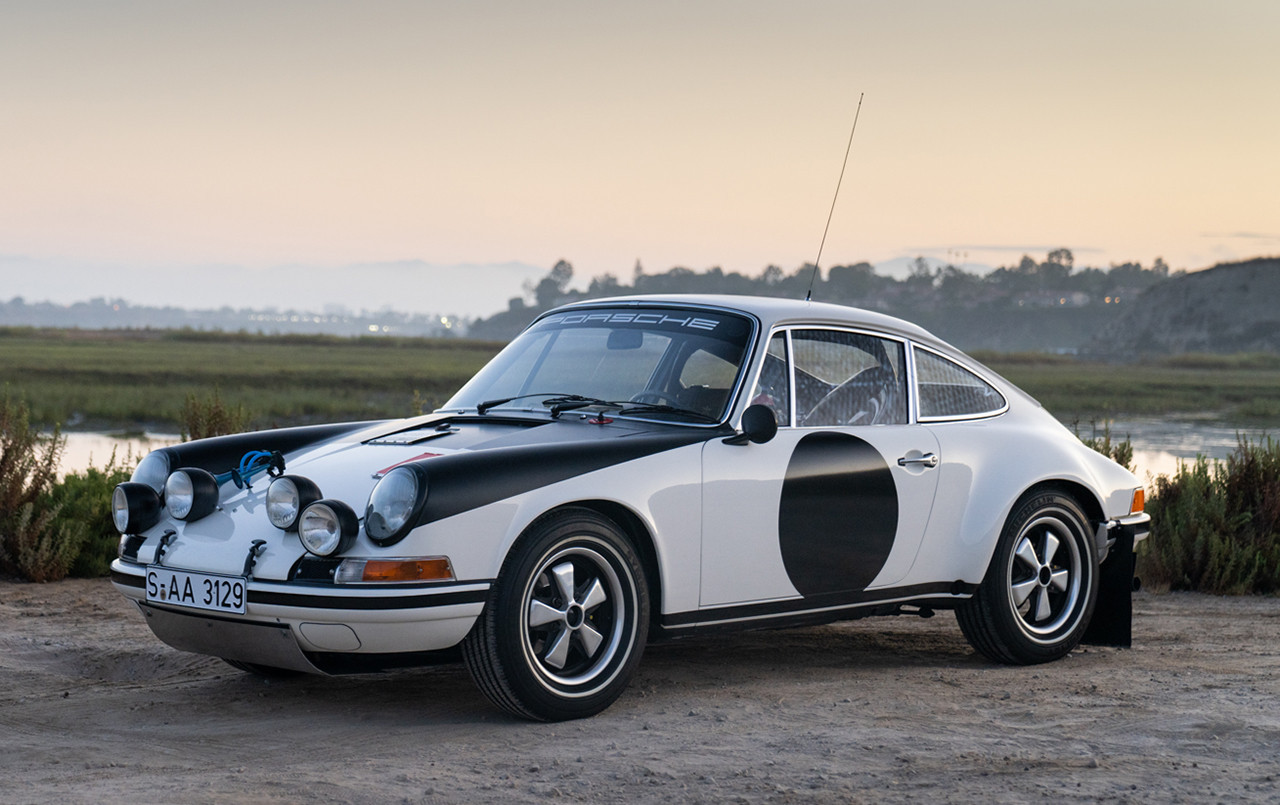 Porsche 911 ST Rally Car front three-quarter