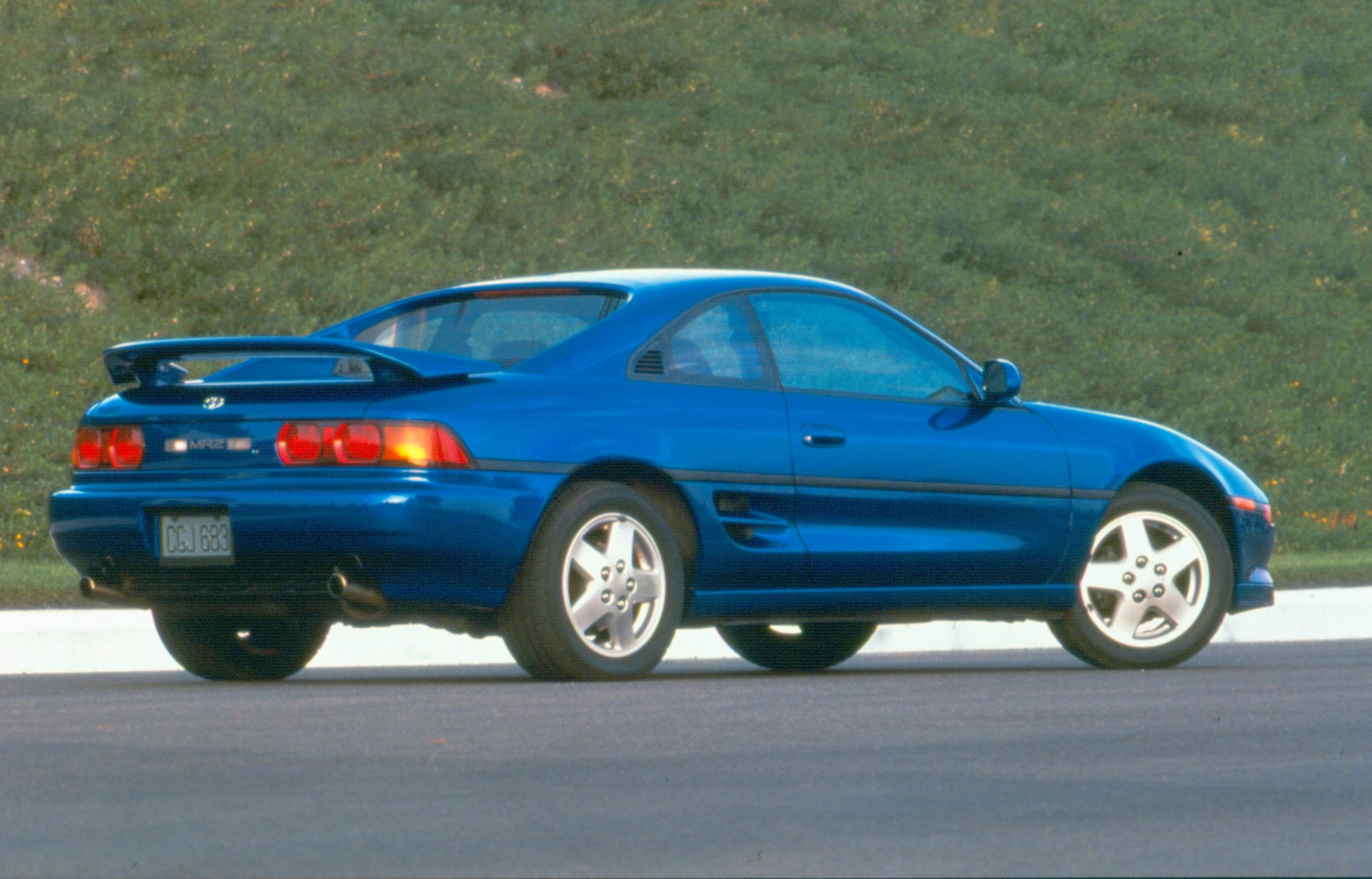 1995 Blue MR2 Rear Three-Quarter