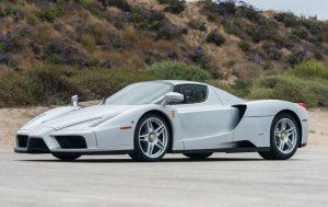 silver Ferrari Enzo front three-quarter