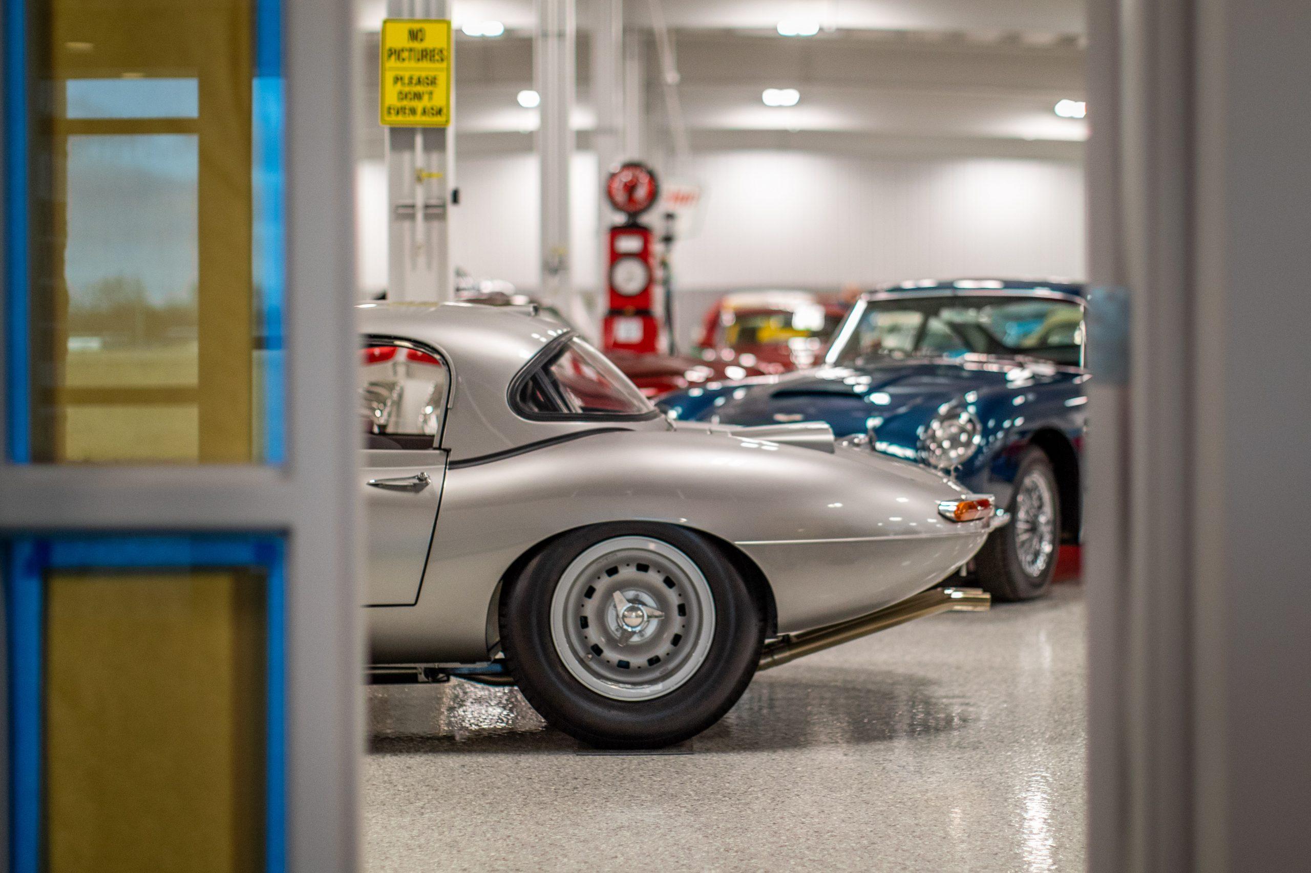 RM Sotheby's Fall Elkhart Vehicles Jaguar E-Type Silver Rear