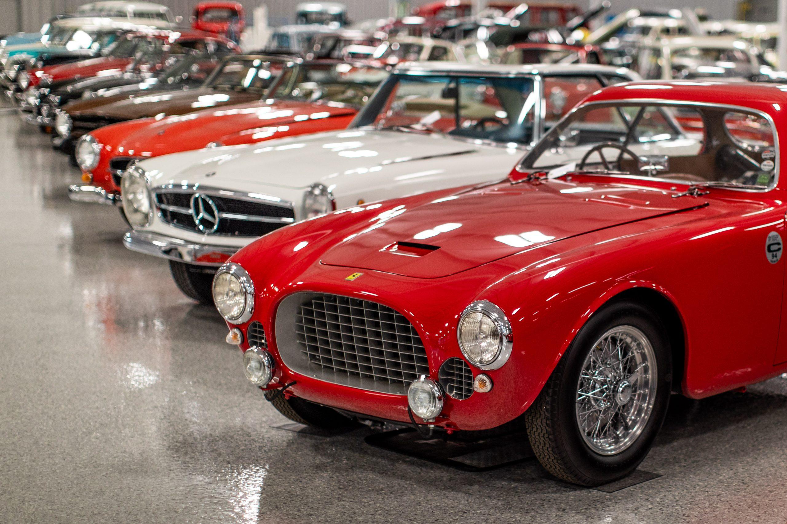 RM Sotheby's Fall Elkhart Vehicles Row Ferrari Mercedes