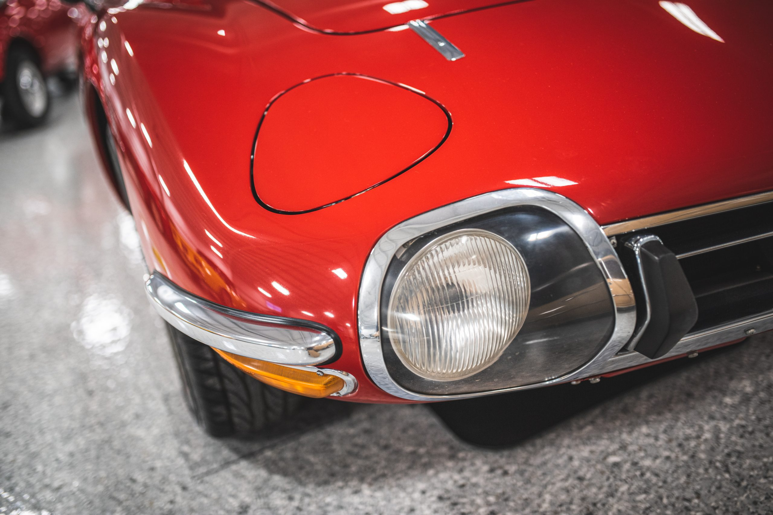 toyota 2000 gt front lights close up