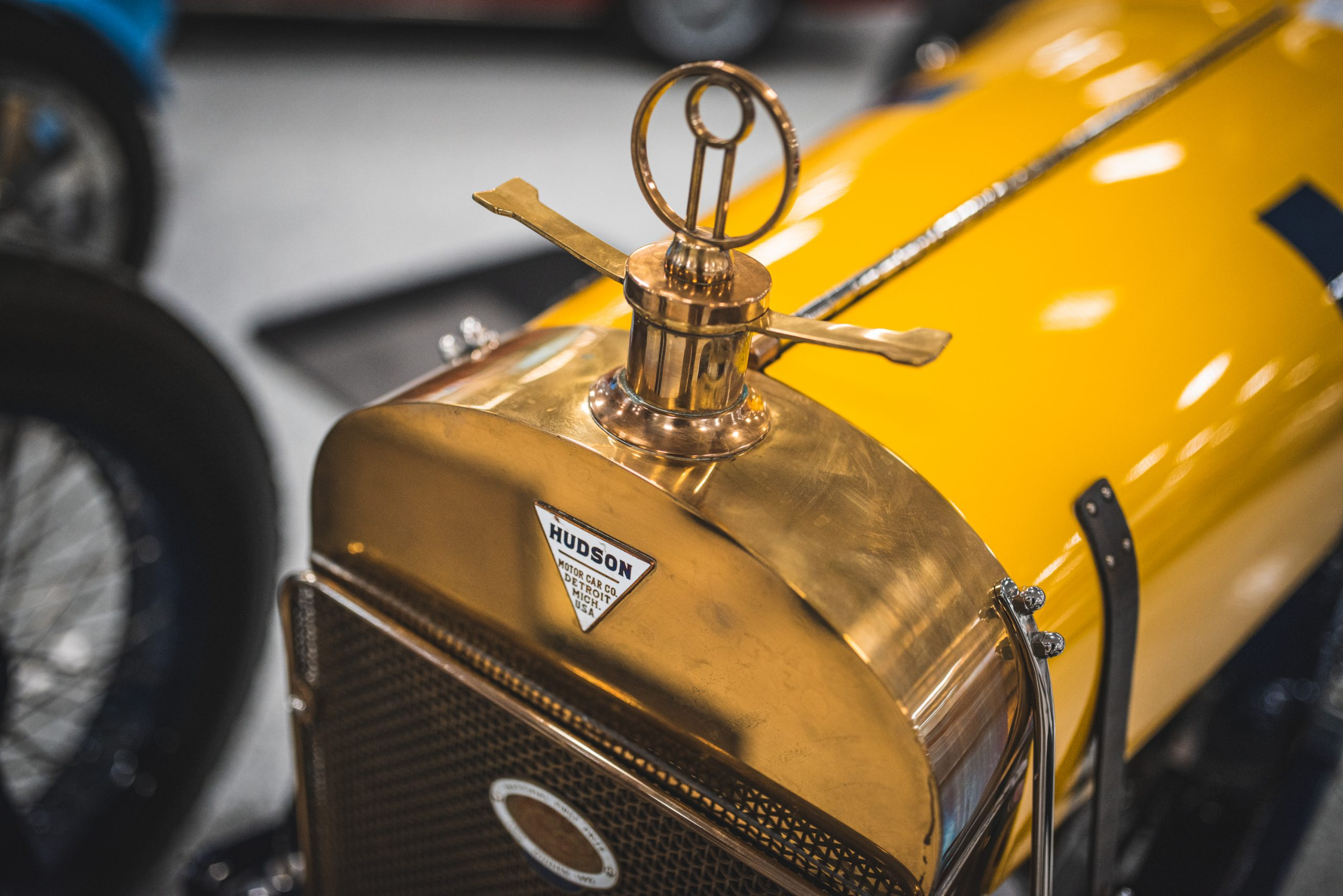 hudson roadster car gold yellow front
