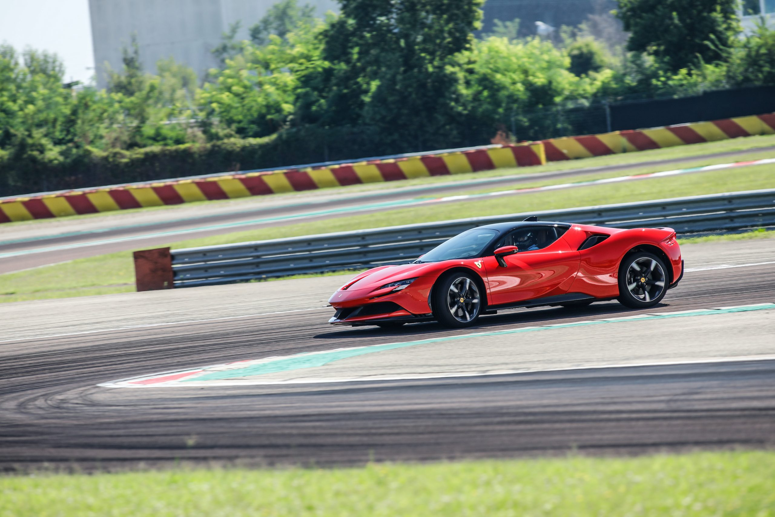 SF90 Stradale track turn front three-quarter