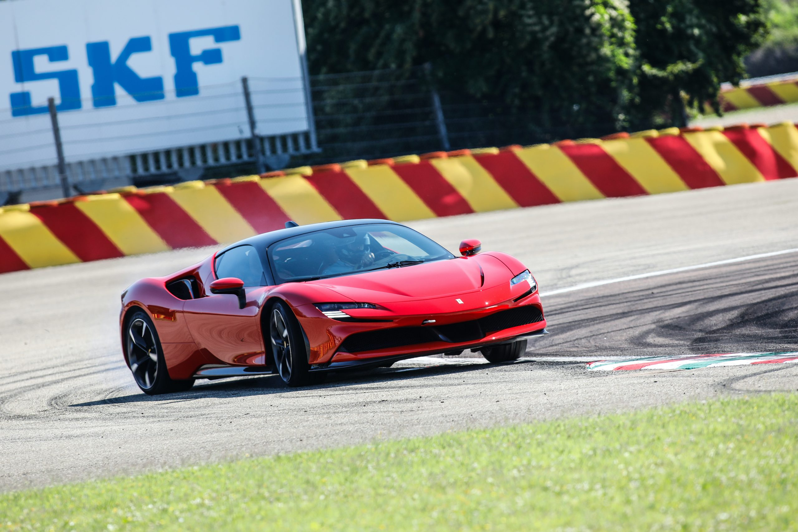 SF90 Stradale track action front three-quarter