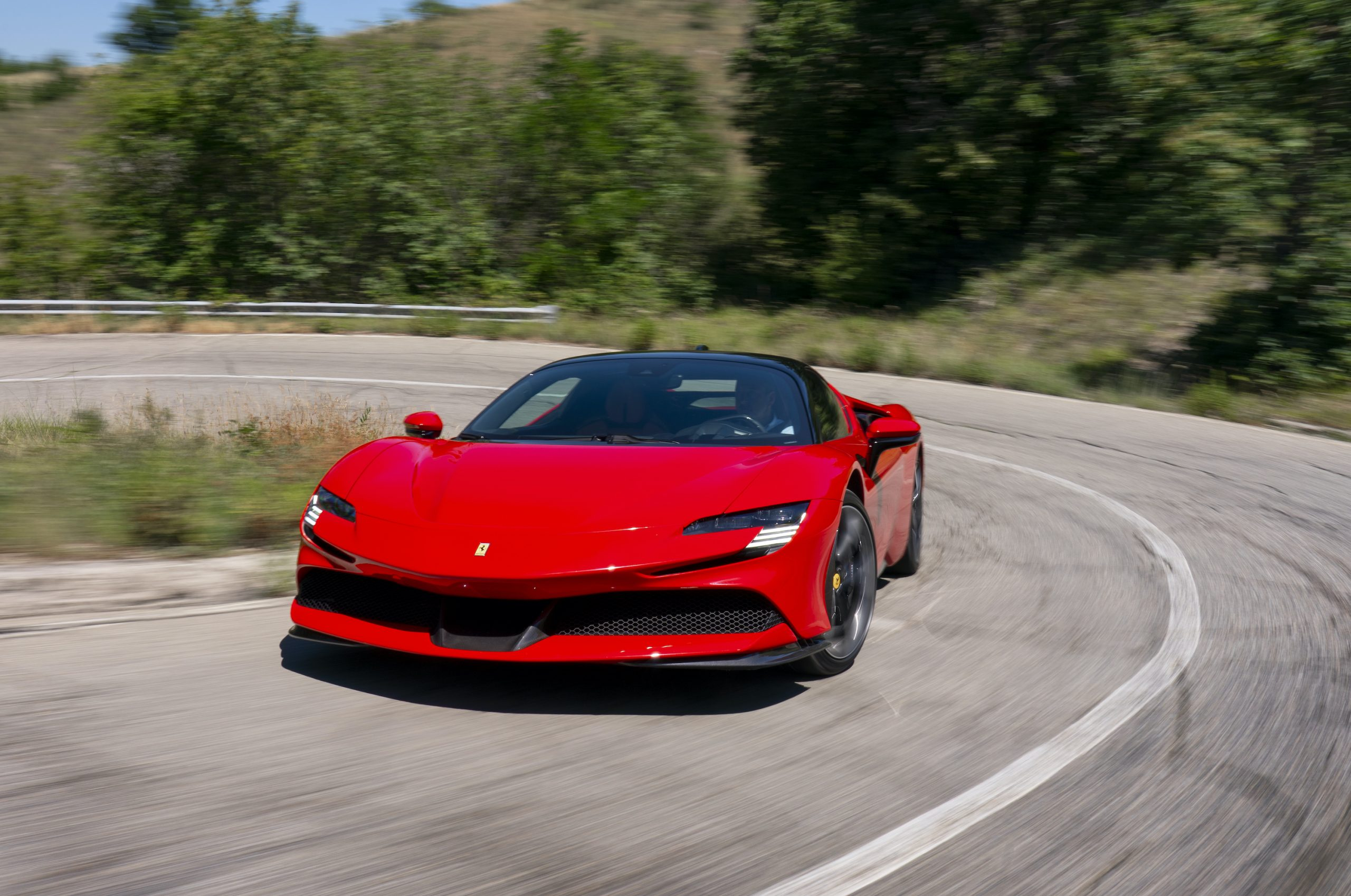 SF90 Stradale front three-quarter road action close