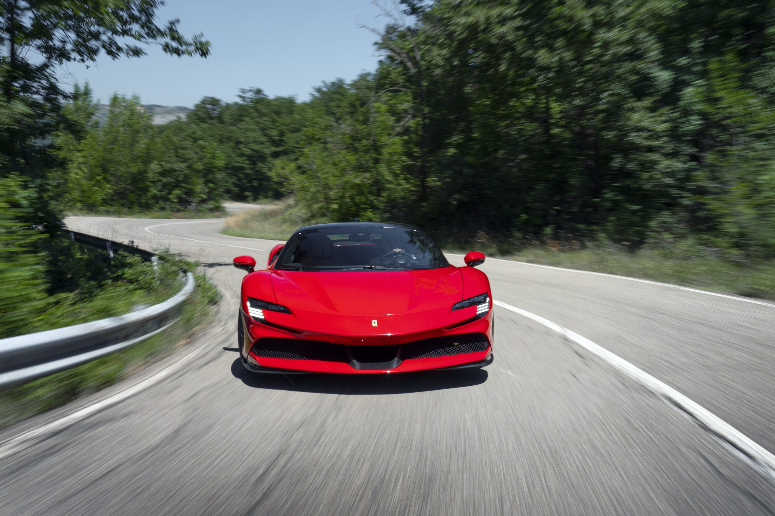SF90 Stradale front road action