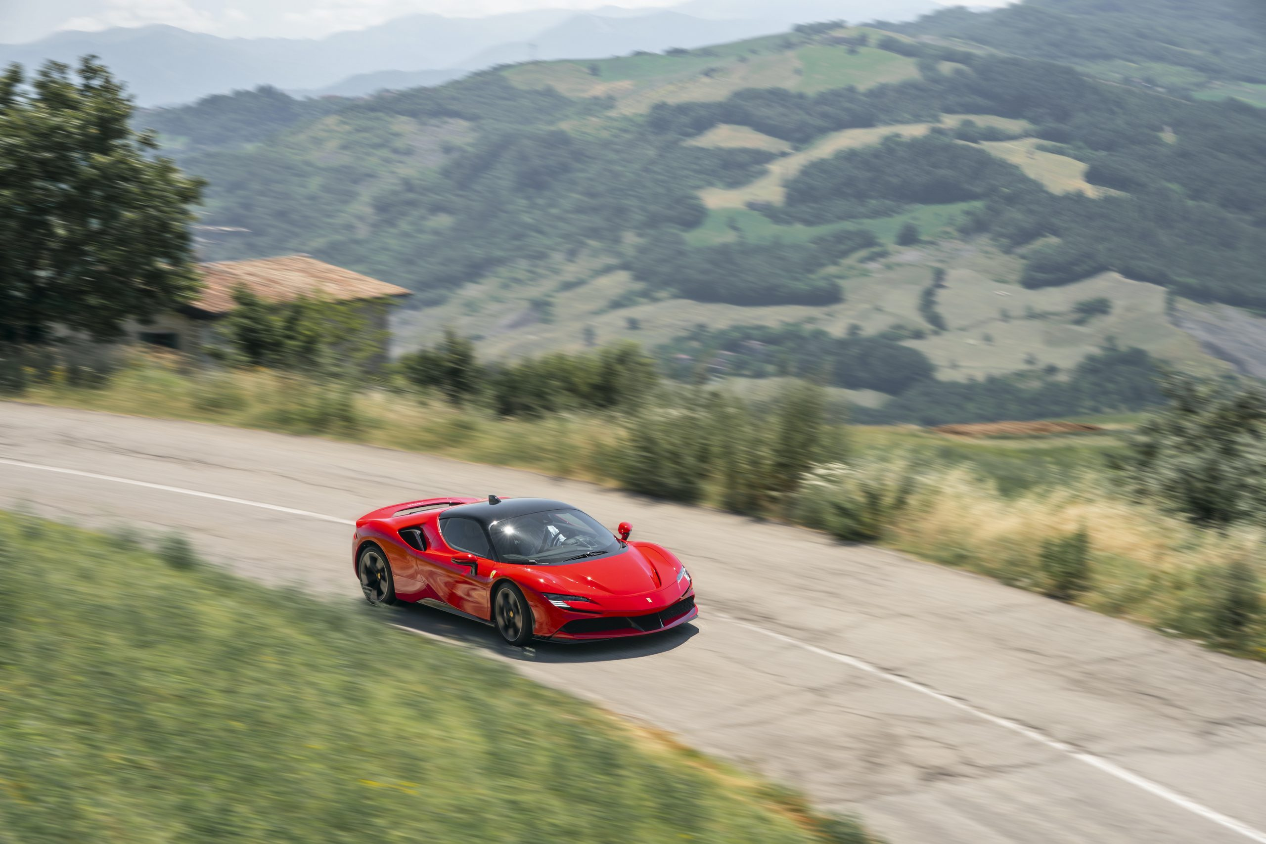 SF90 Stradale front three-quarter hills action